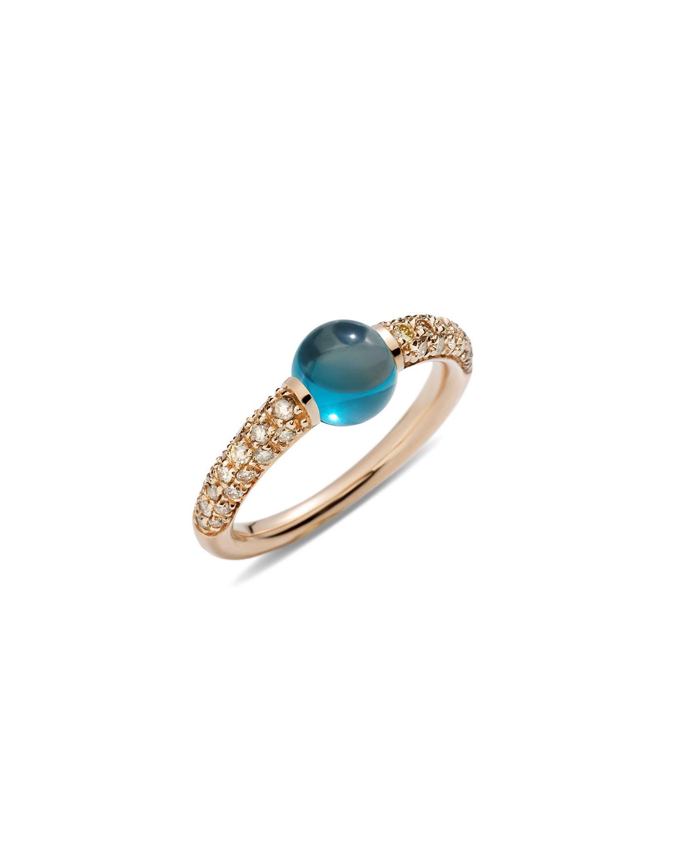 rose gold ring blue london topaz brown diamonds