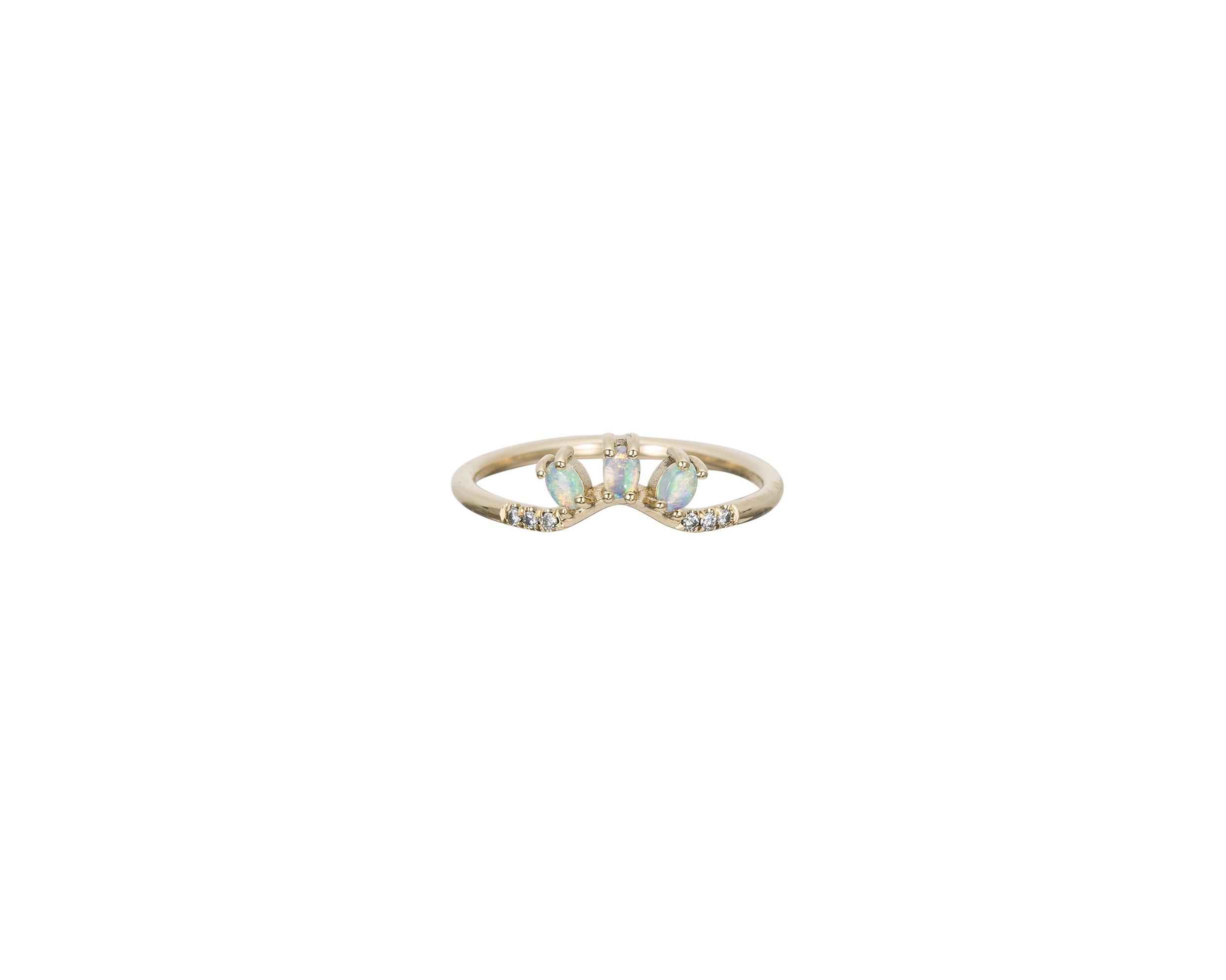 odd wedding band diamond opal trio ring