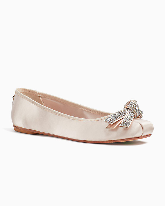nude shoe pink crystal bow flats