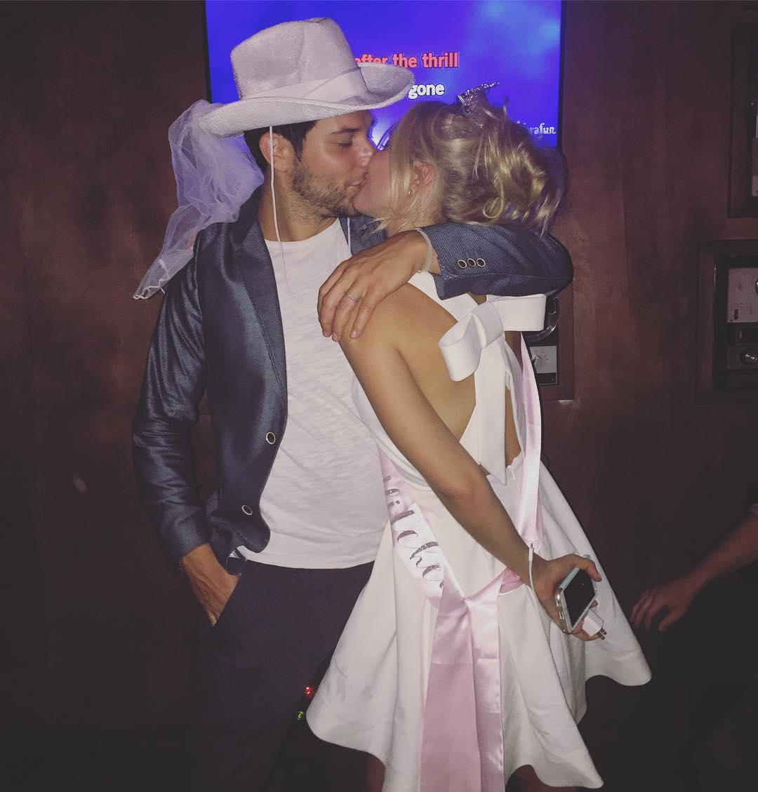 Anna Camp and Skylar Astin at Joint Bachelor-Bachelorette Party