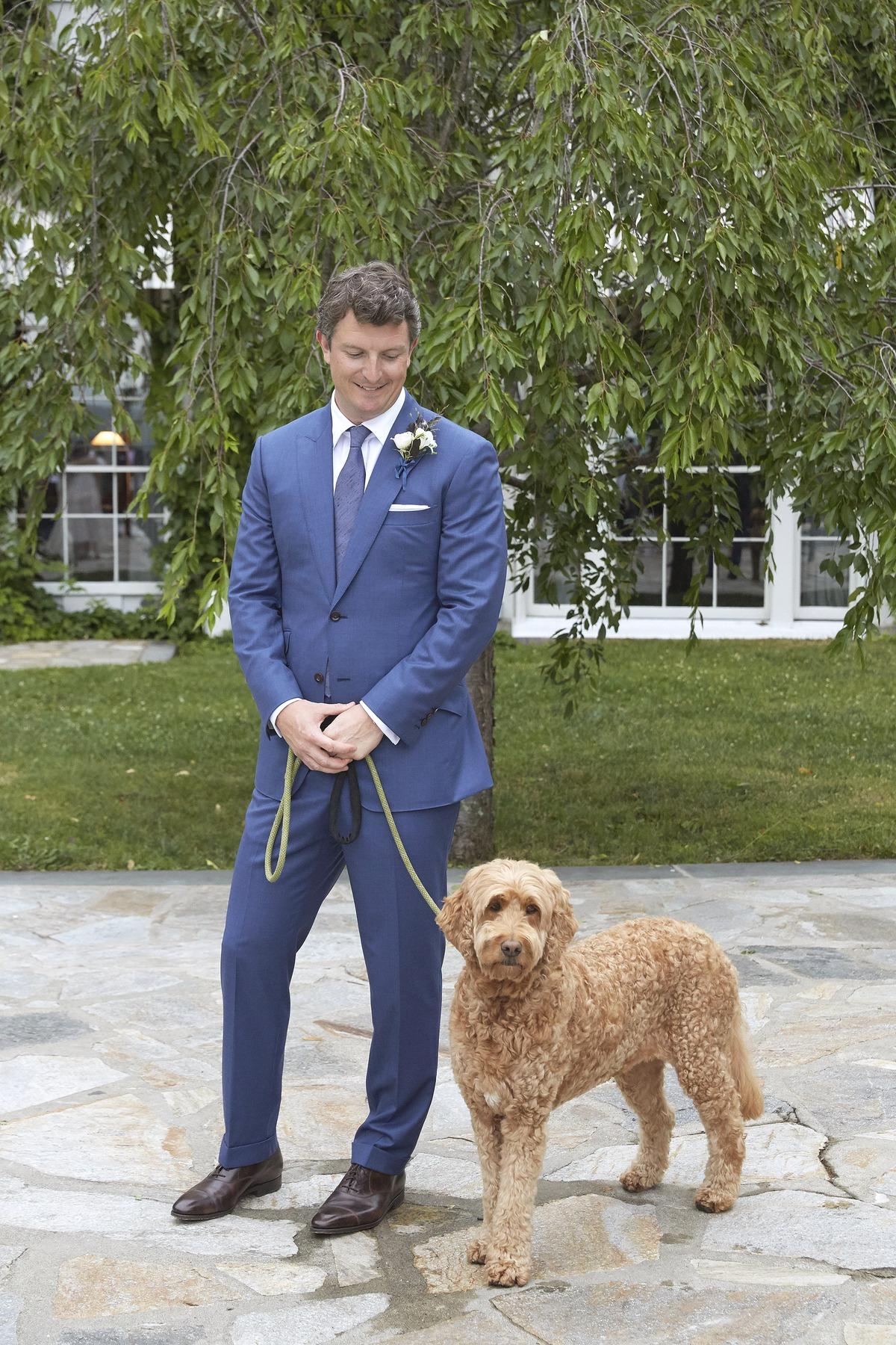 joyann jeremy wedding groom pet dog