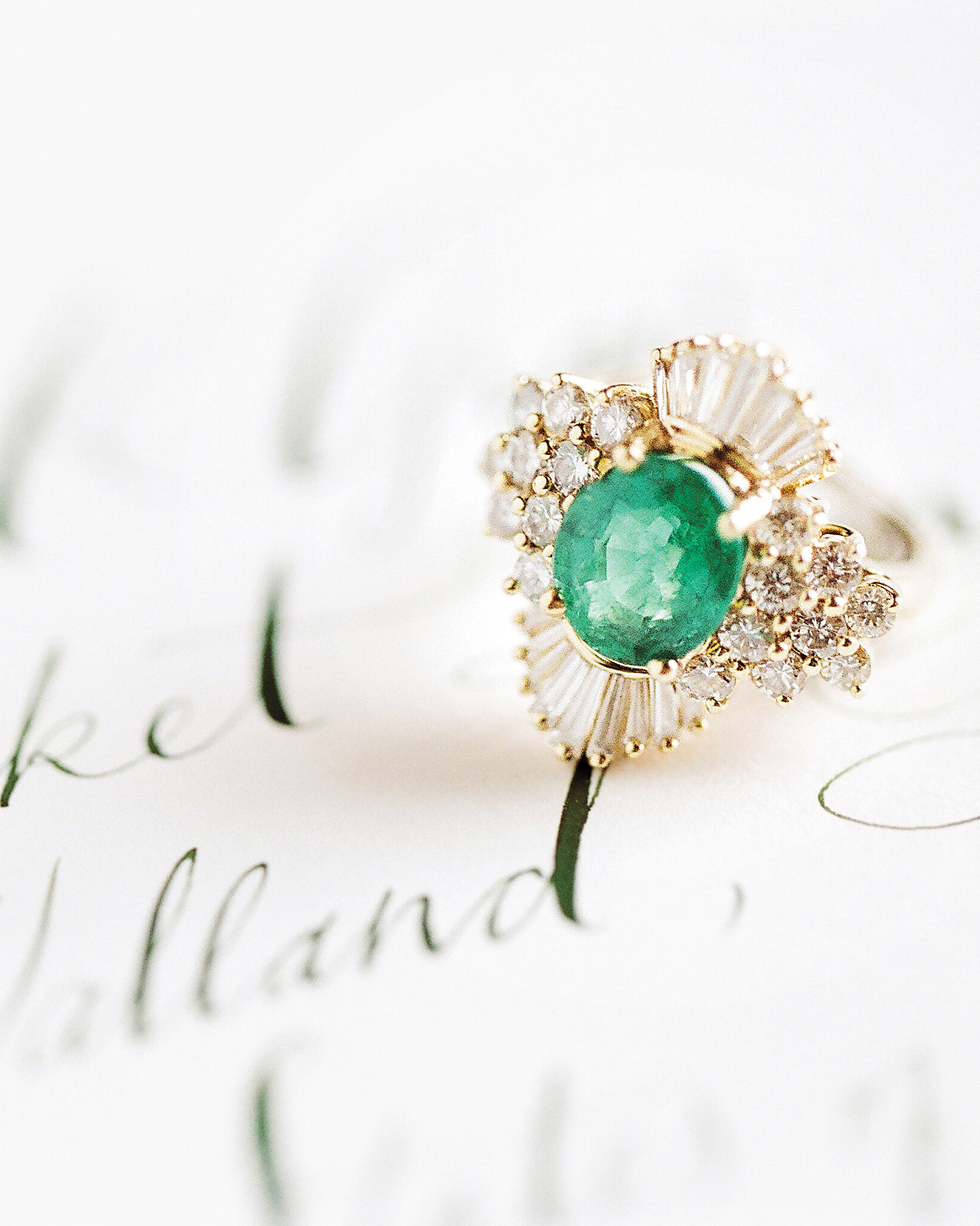 Heirloom Emerald and Diamond Engagement Ring