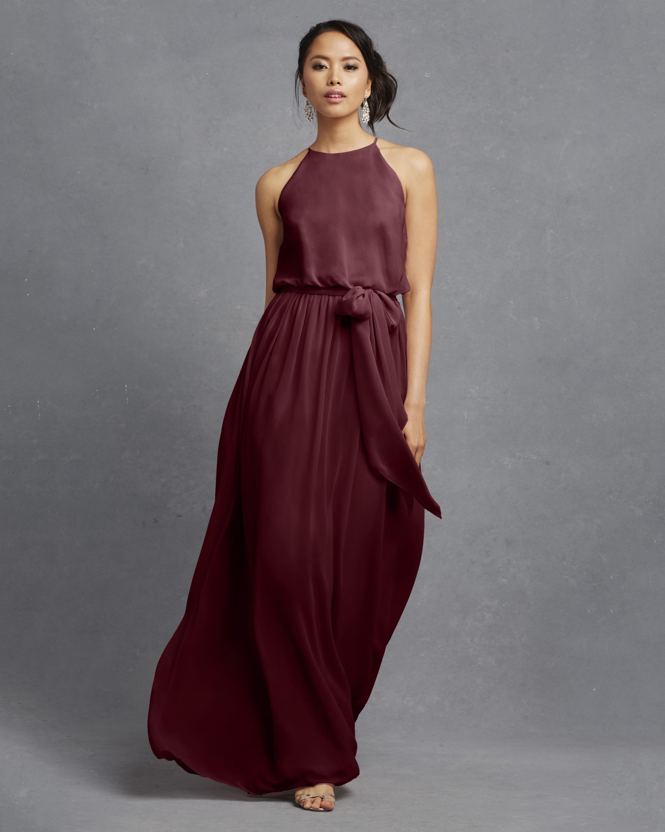 burgundy bridesmaid dress – Donna Morgan – Alana