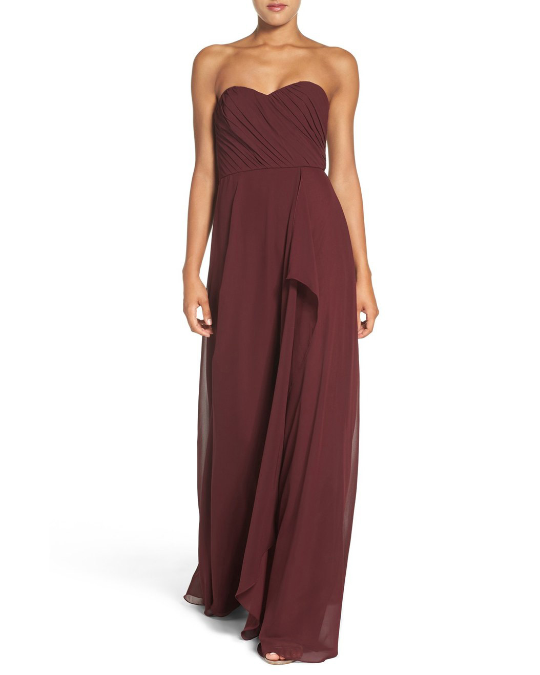 "burgundy bridesmaid dress – Amsale ""Jaycie"" Drape Strapless Chiffon Gown"