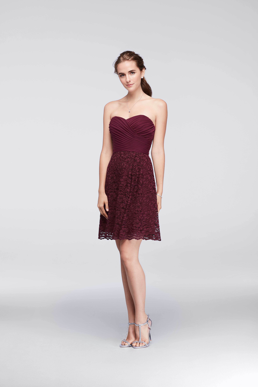 burgundy bridesmaid dress – David's Bridal – F19217