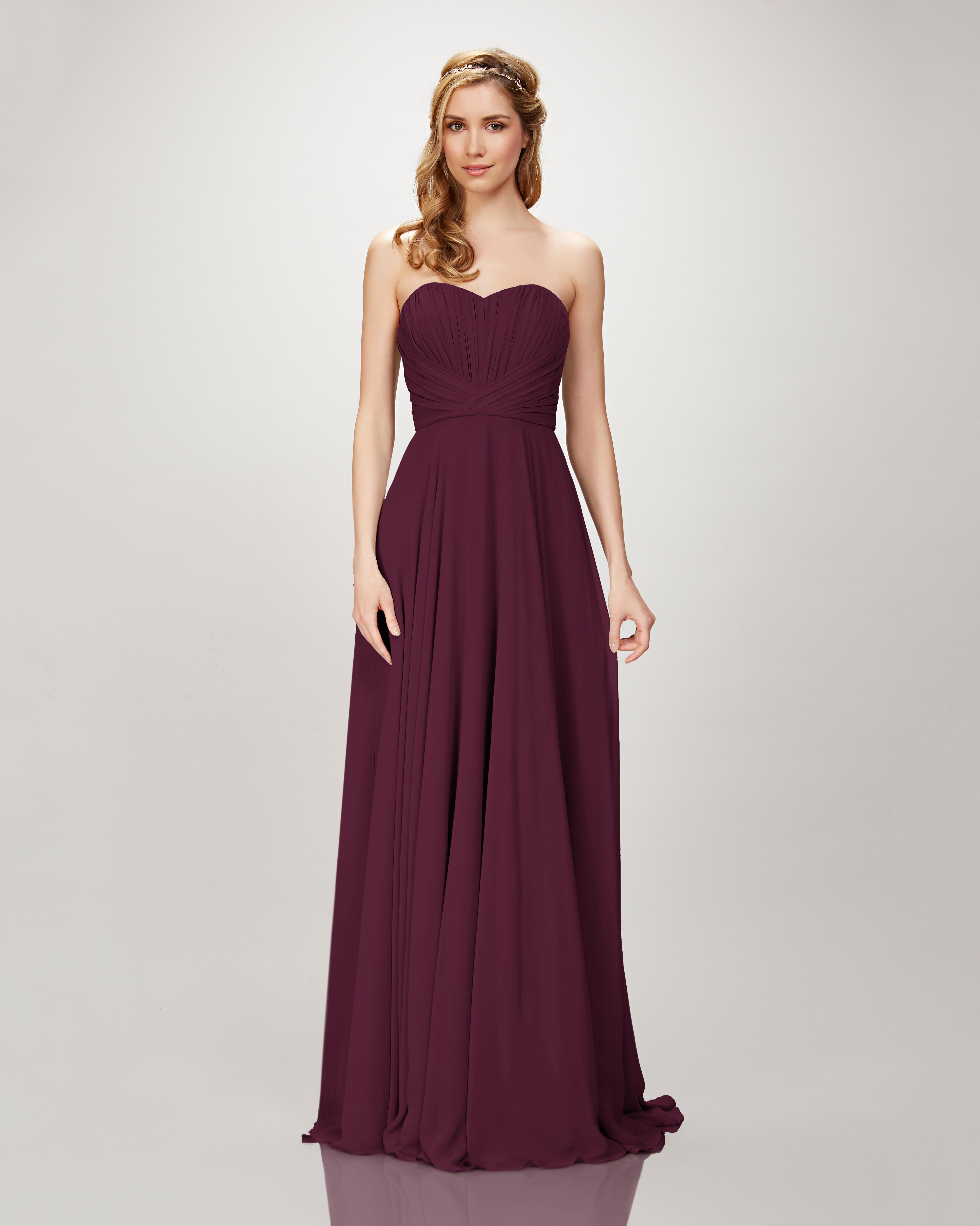 "burgundy bridesmaid dress – Theia ""Style 910104 Blaire"" Strapless Chiffon Gown"