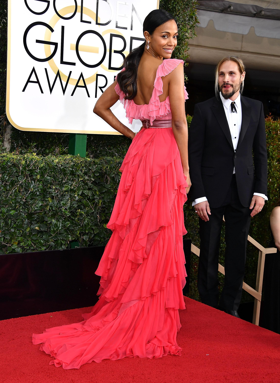 Zoe Saldana Beauty Look Golden Globes 2017