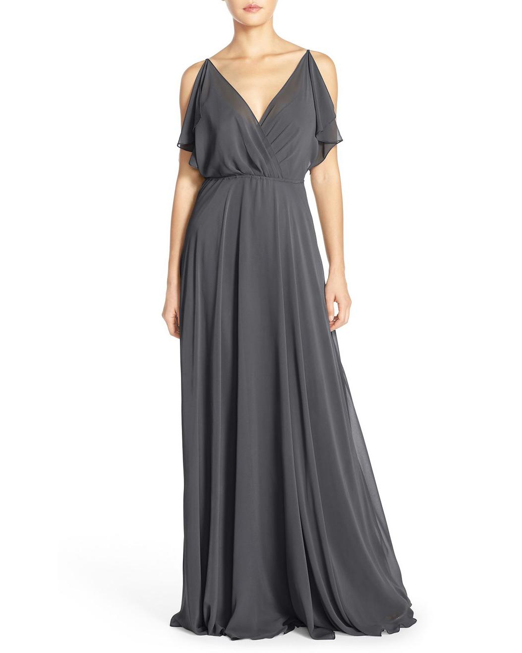 winter bridesmaid dress jenny yoo cassie flutter sleeve grey