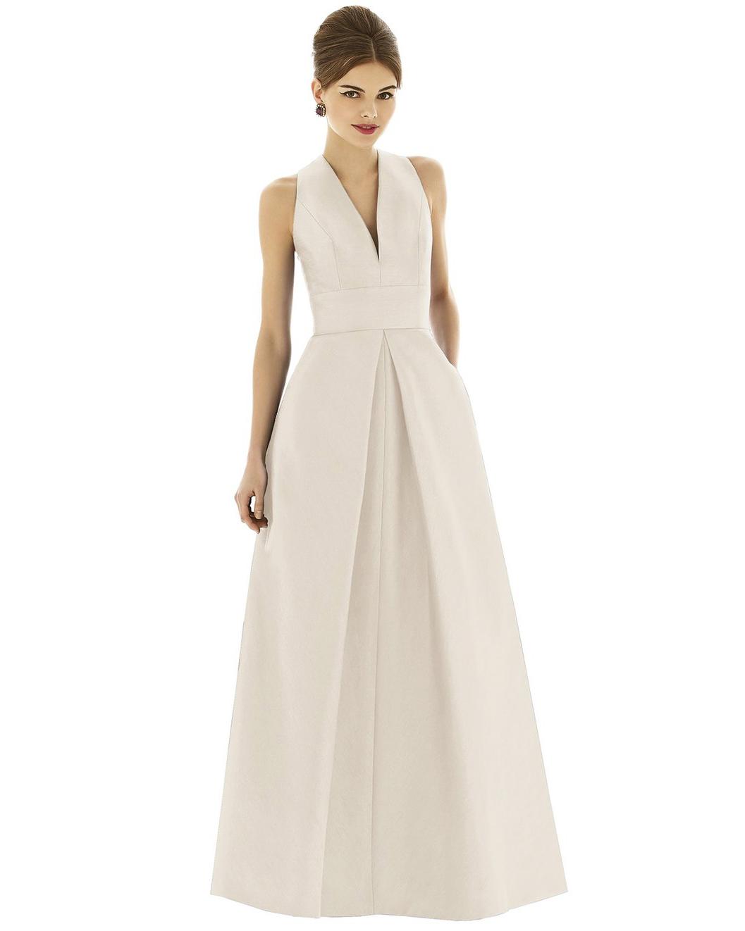 winter bridesmaid dress alfred sung dupioni white