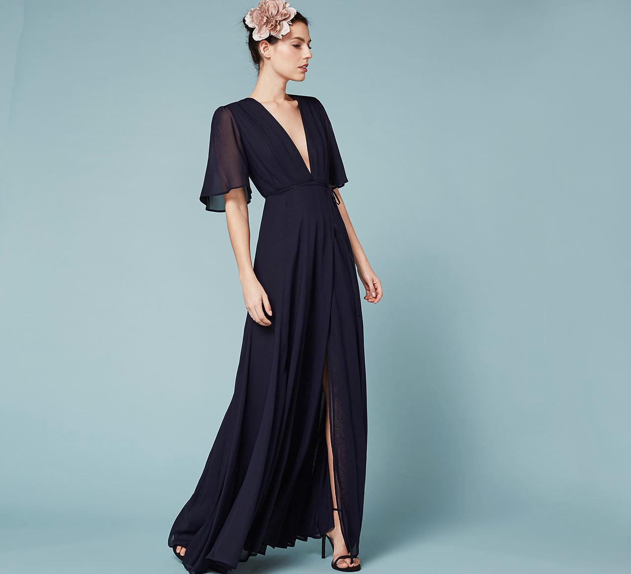 winter bridesmaid dress reformation catalina navy chiffon