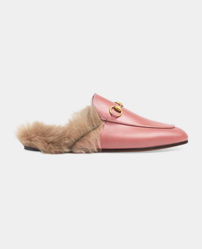 gucci princetown fur leather slippers