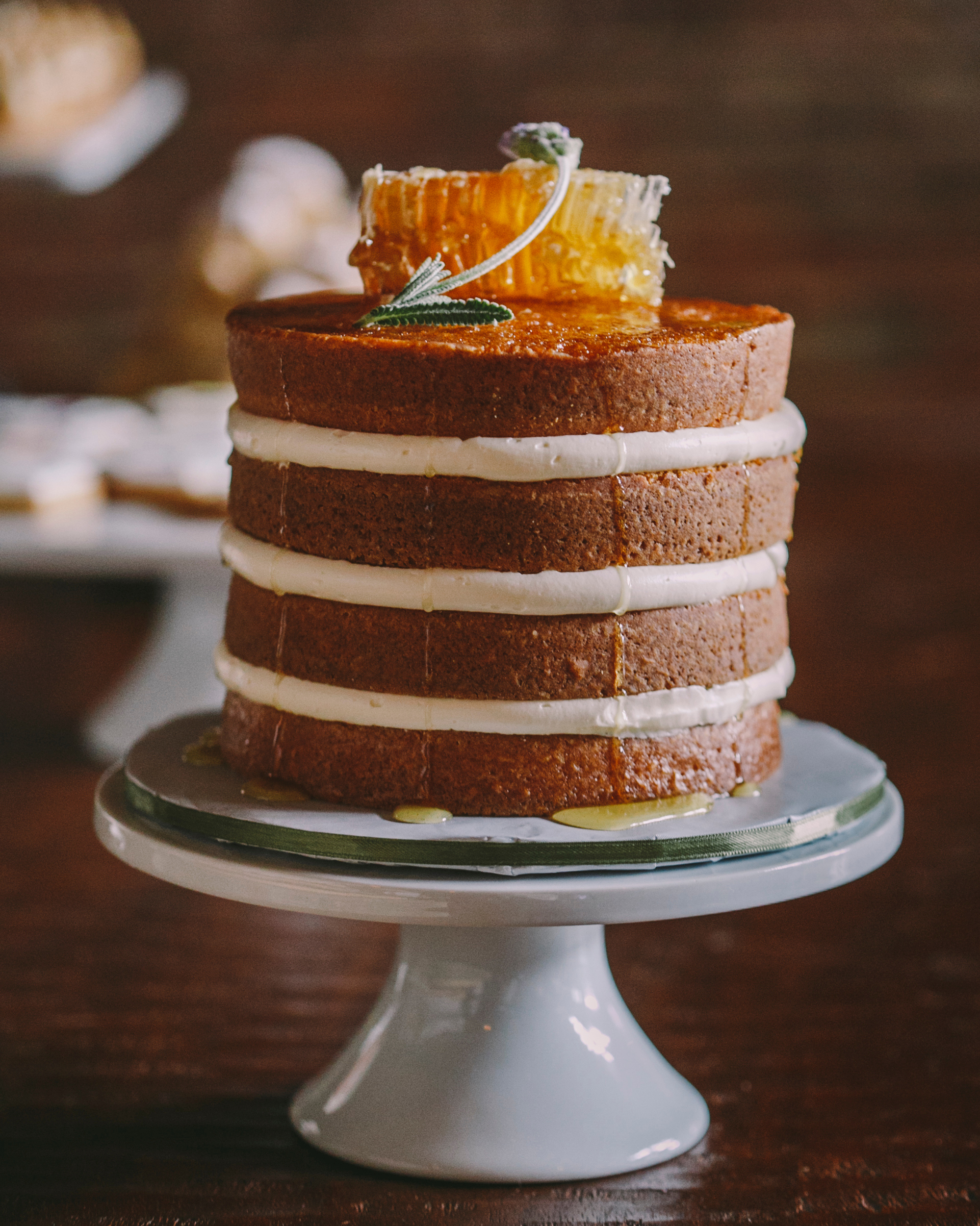 Honey-Lavender-White Wine Soaked Vanilla Naked Cake with Honey-Goat Cheese Frosting