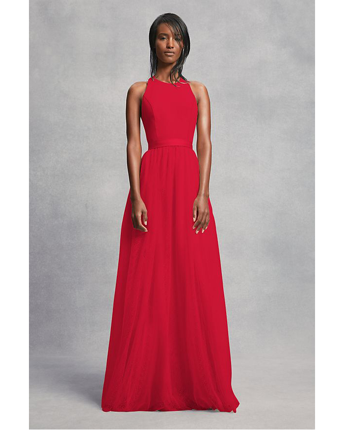 red Crepe and Tulle T-Back Dress