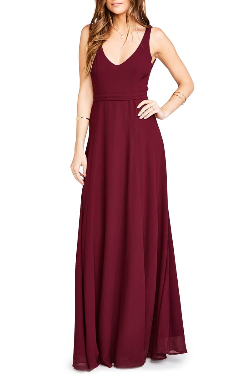 Show Me Your Mumu Red Bridesmaid Dress with Scooped V-Neck