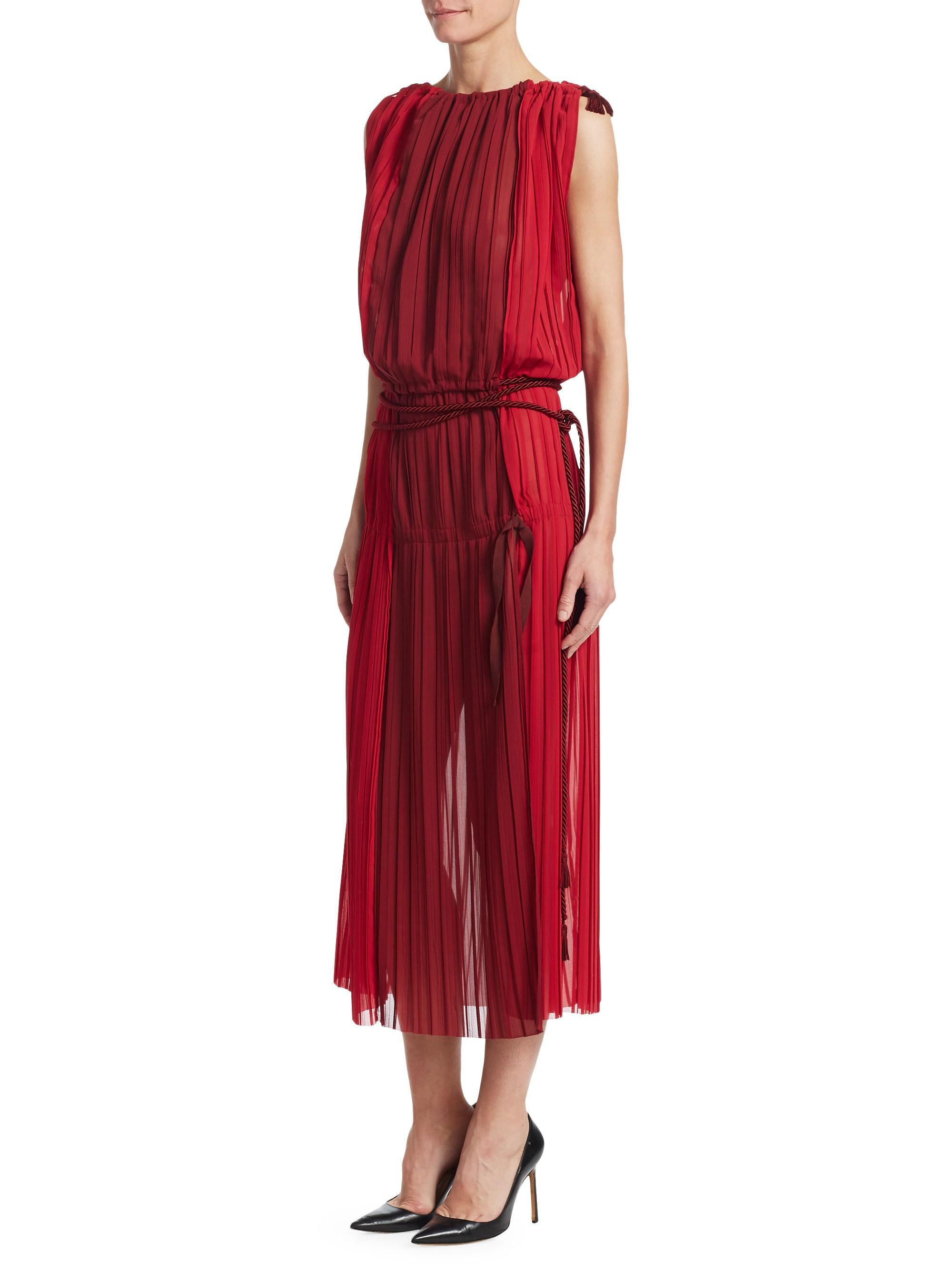 red belted Chiffon maxi Dress