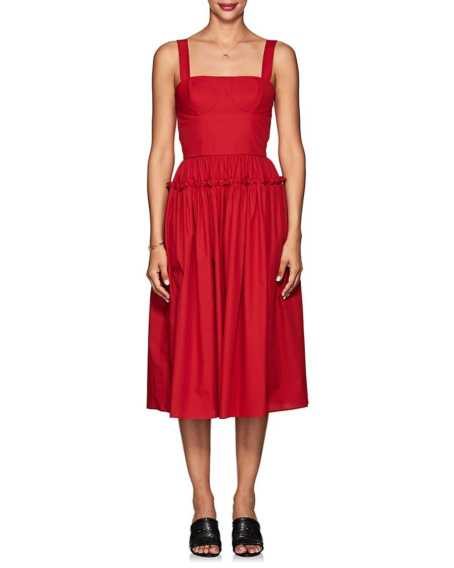 red Cotton Poplin Bustier Dress