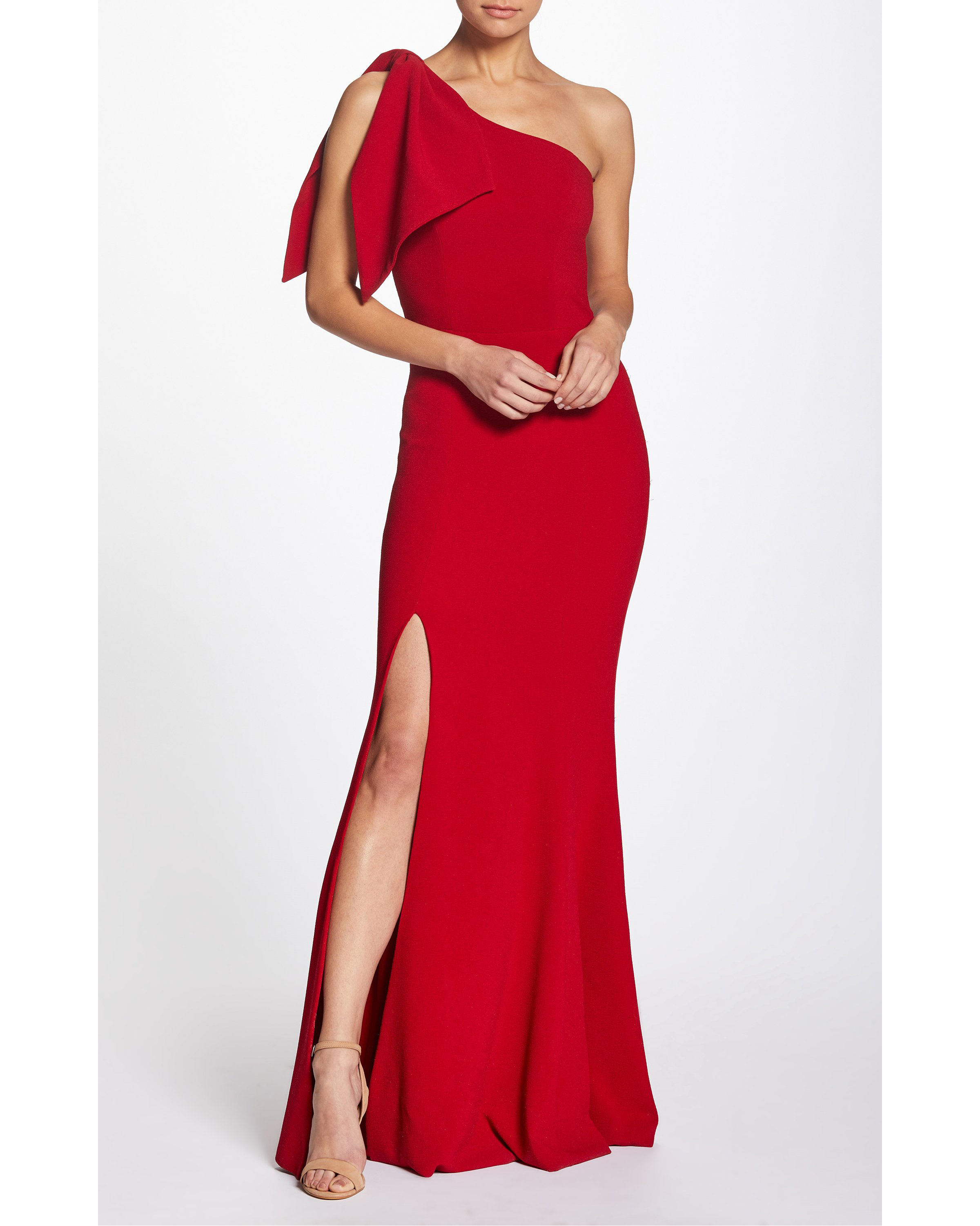 red One-Shoulder Crepe Gown