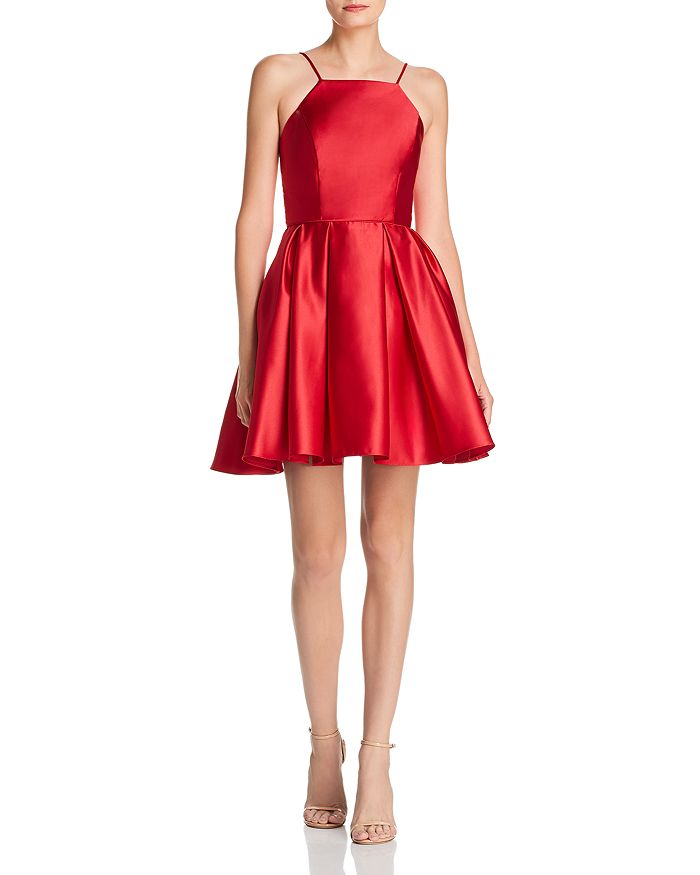 red Satin Fit and Flare Dress