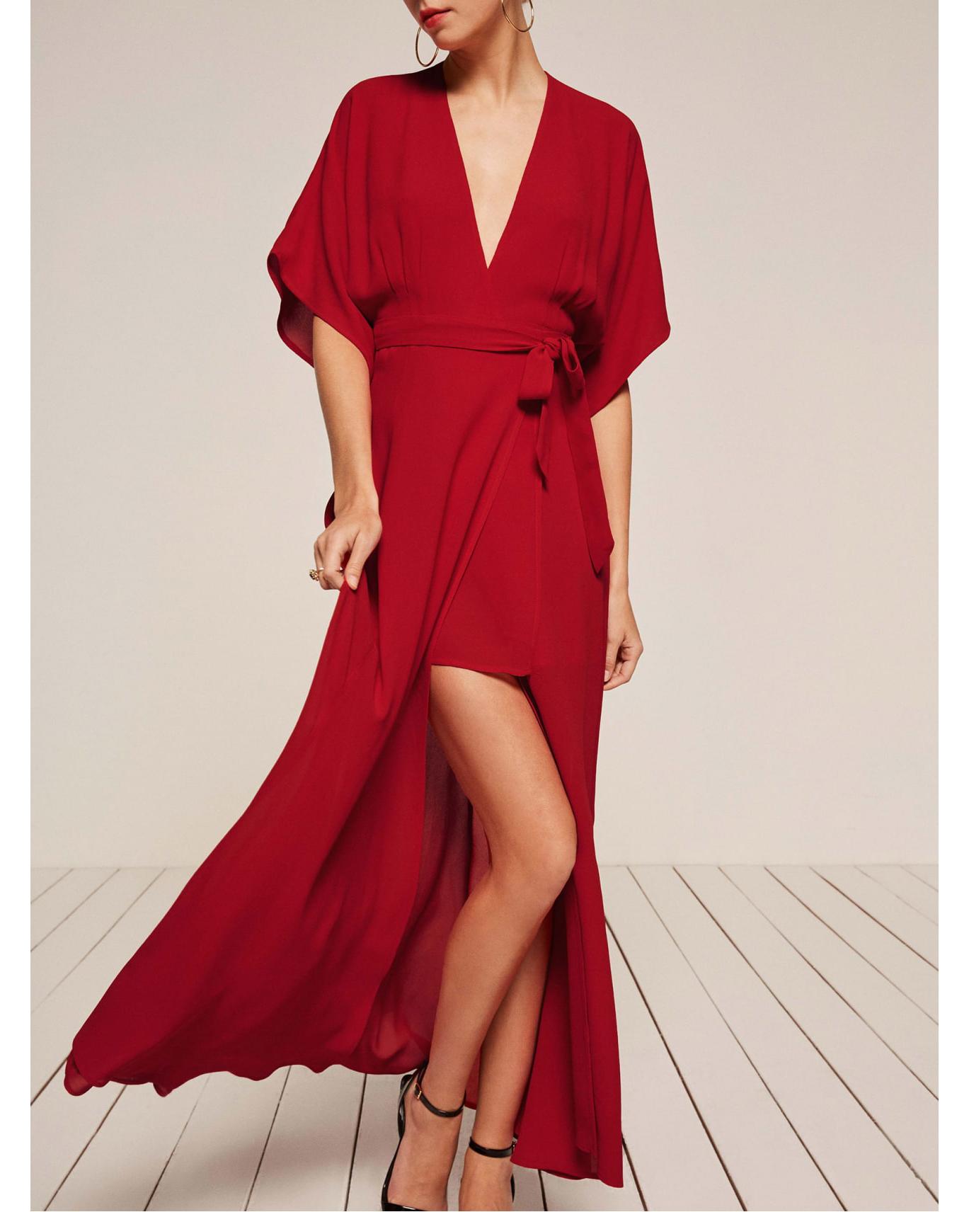 high low red v neck dress