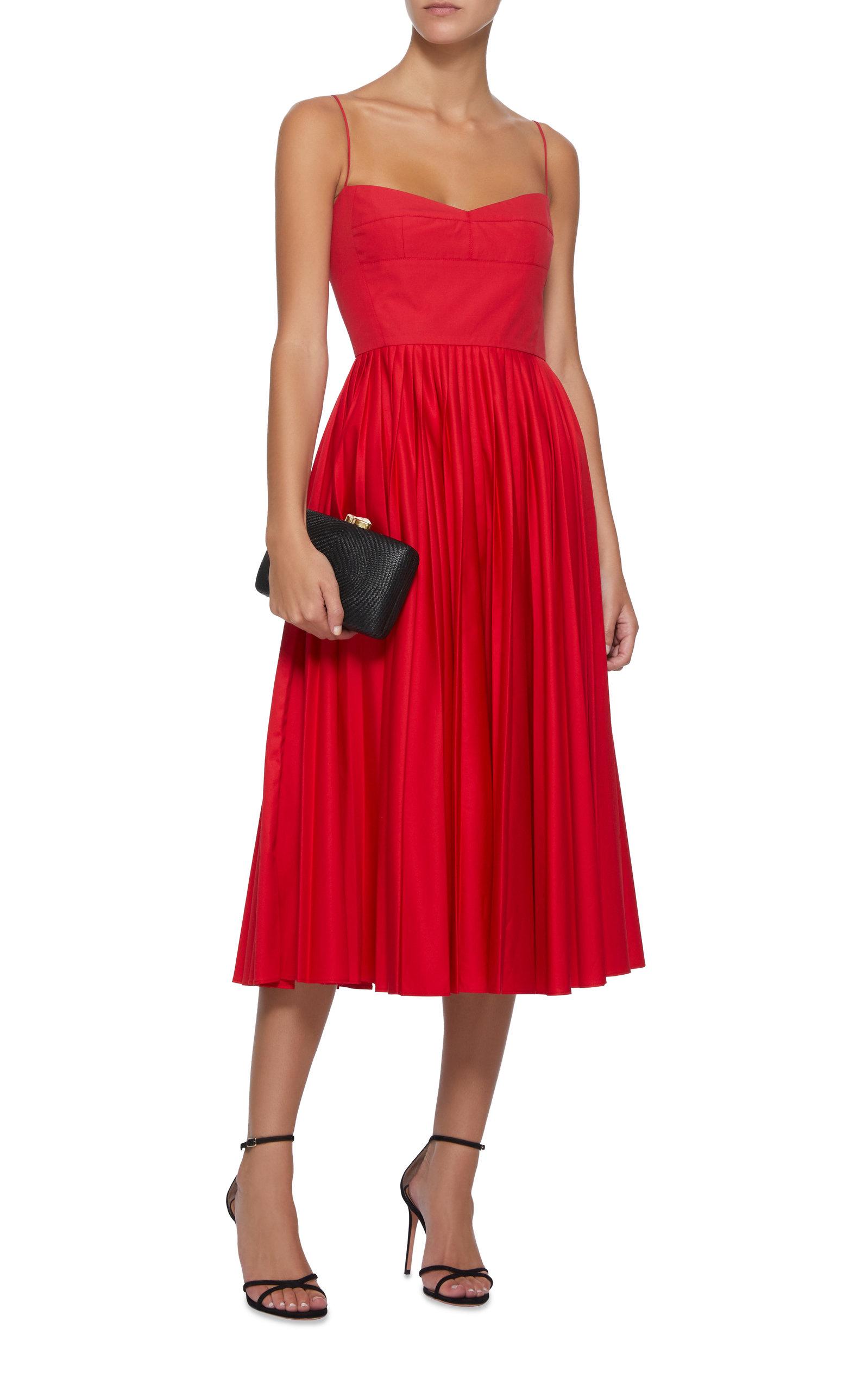 red Pleated Cotton Midi Dress
