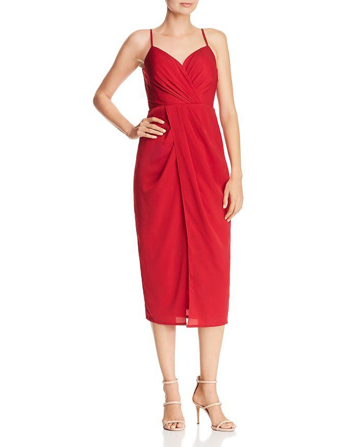 red Chiffon Midi Dress