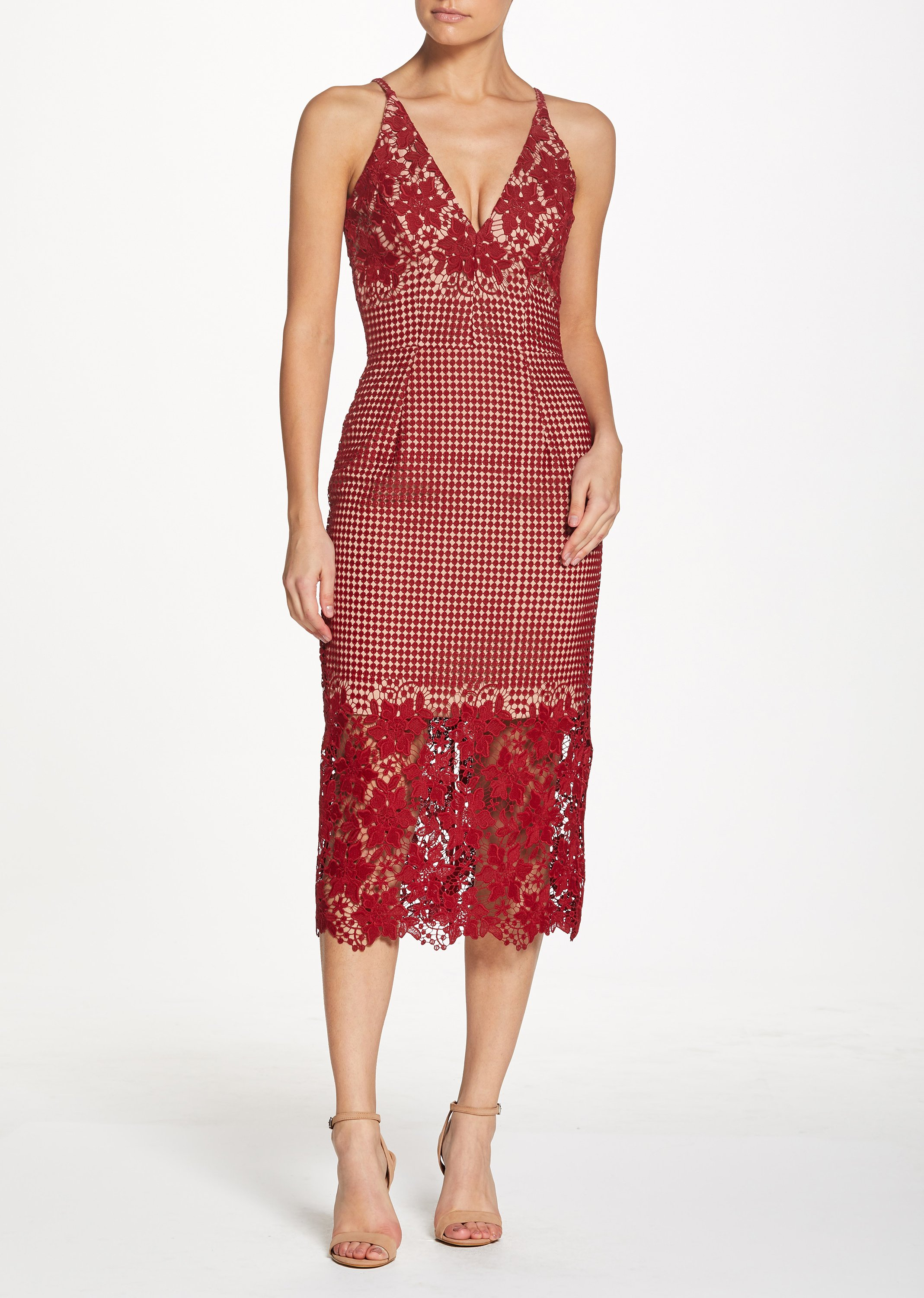 red lace Floral Midi Dress
