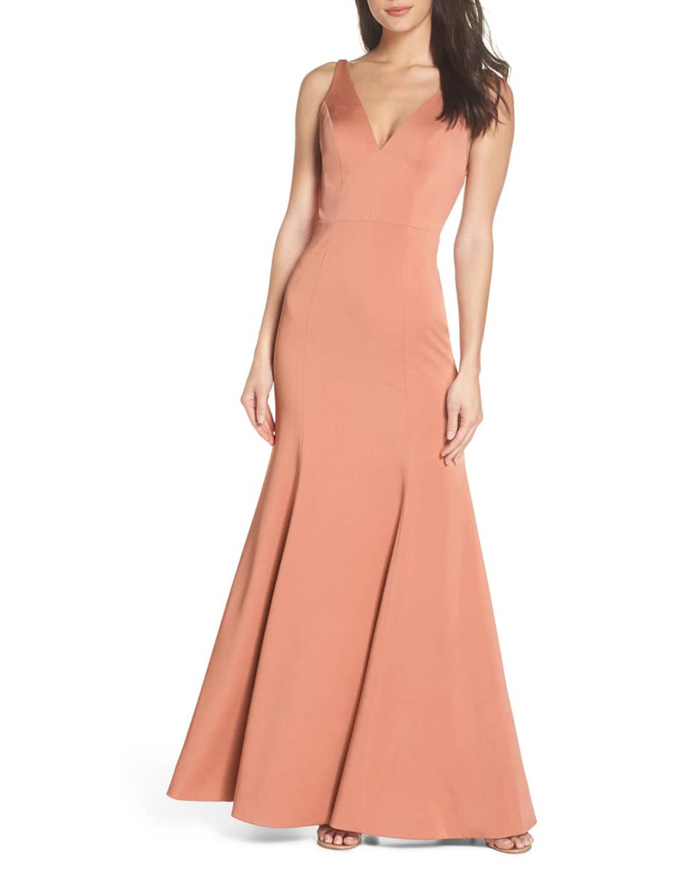 v neck coral floor length dress