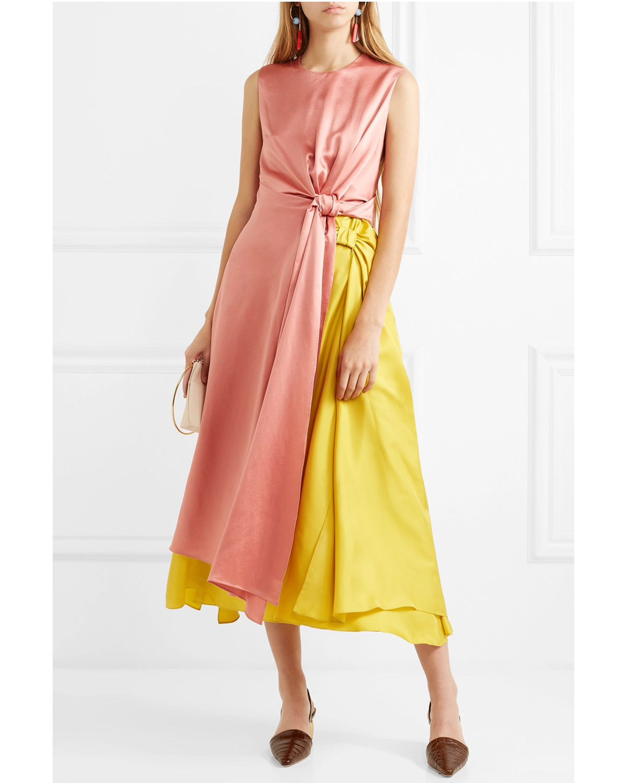 coral and mustard color block silk midi dress