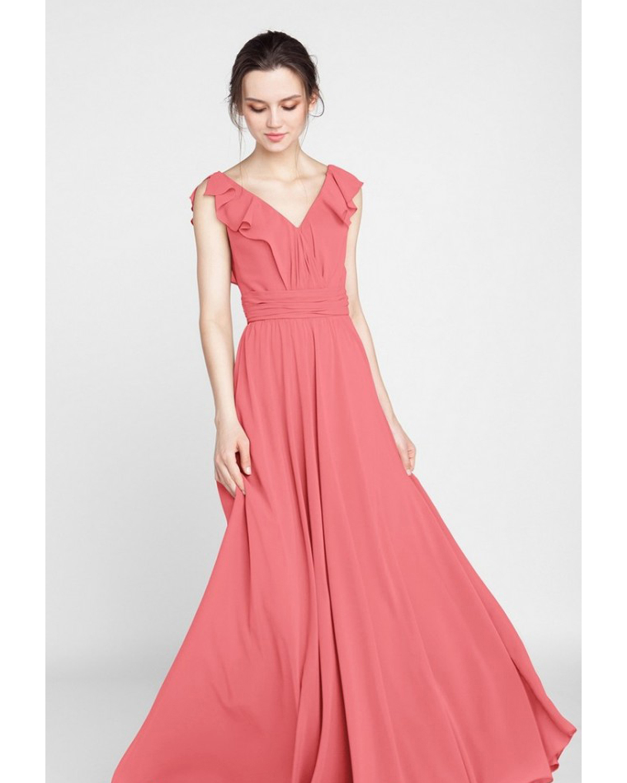 coral v neck floor length chiffon dress