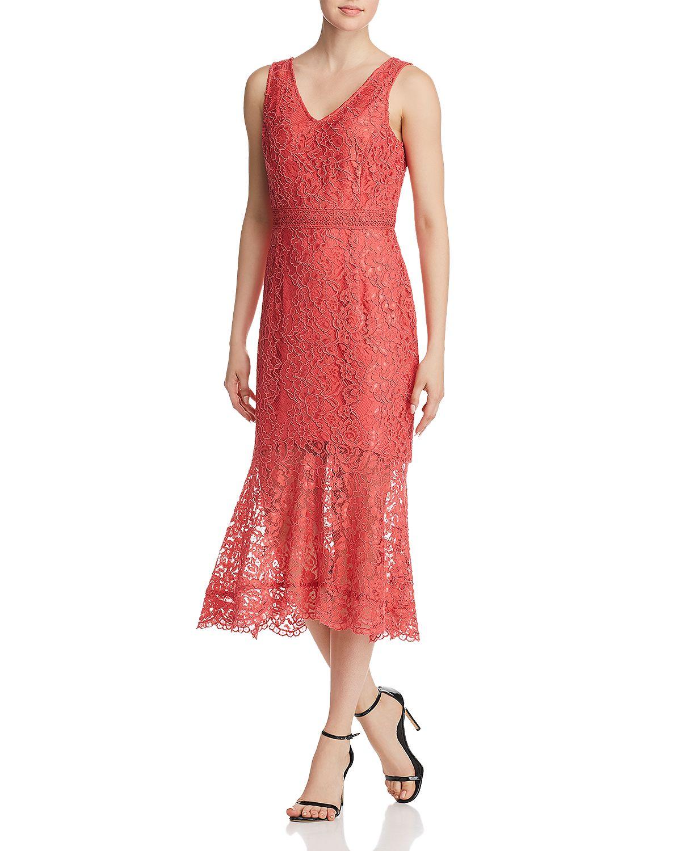 coral illusion lace midi dress