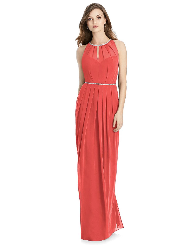 halter neck floor length coral dress
