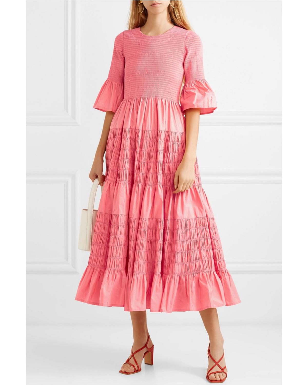 ribbed coral midi dress