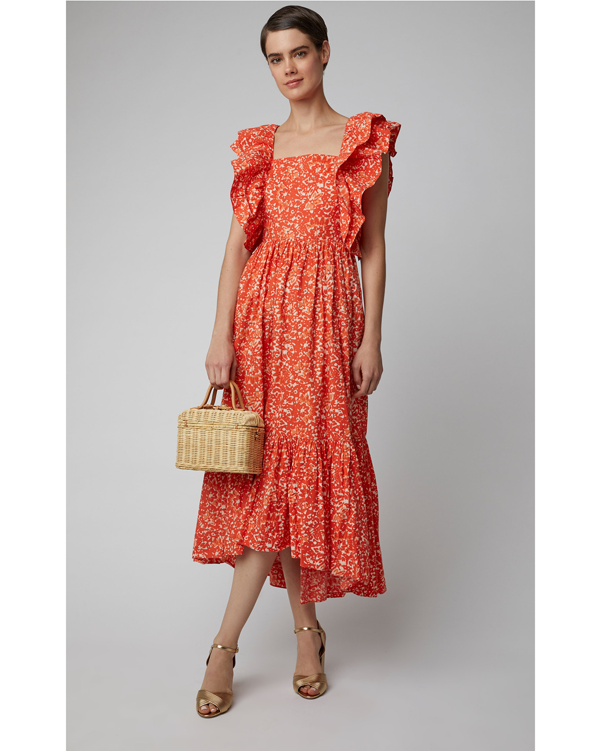 coral and white floral printed midi dress