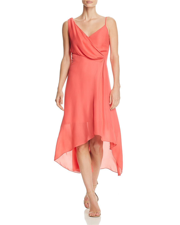 coral asymmetric draped midi dress