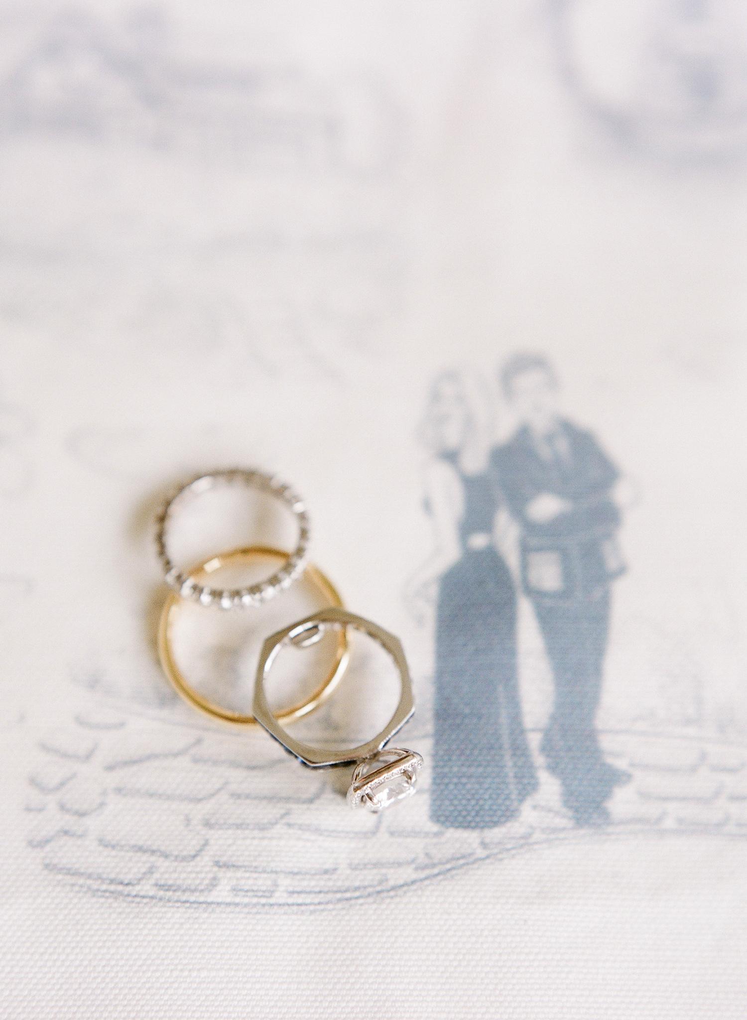 unique silver hexagonal shape wedding ring