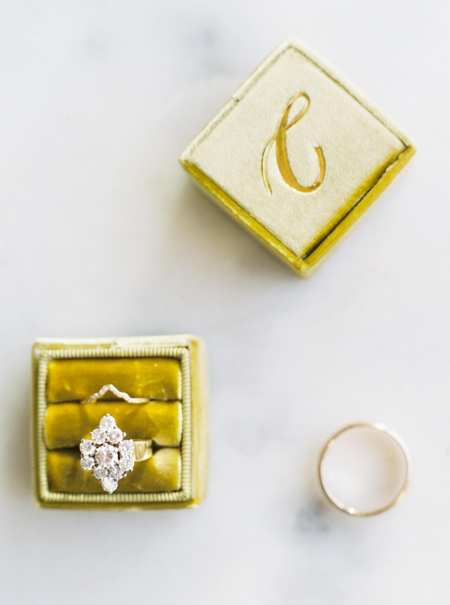 antique wedding ring in velvet box