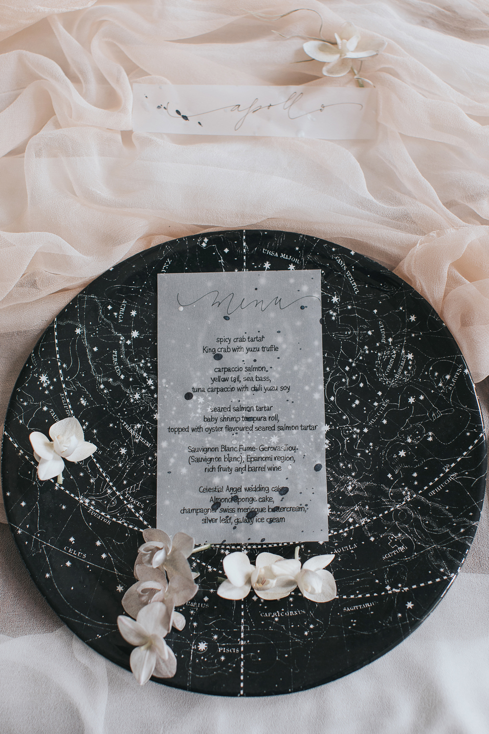 vellum menu with decorative plate