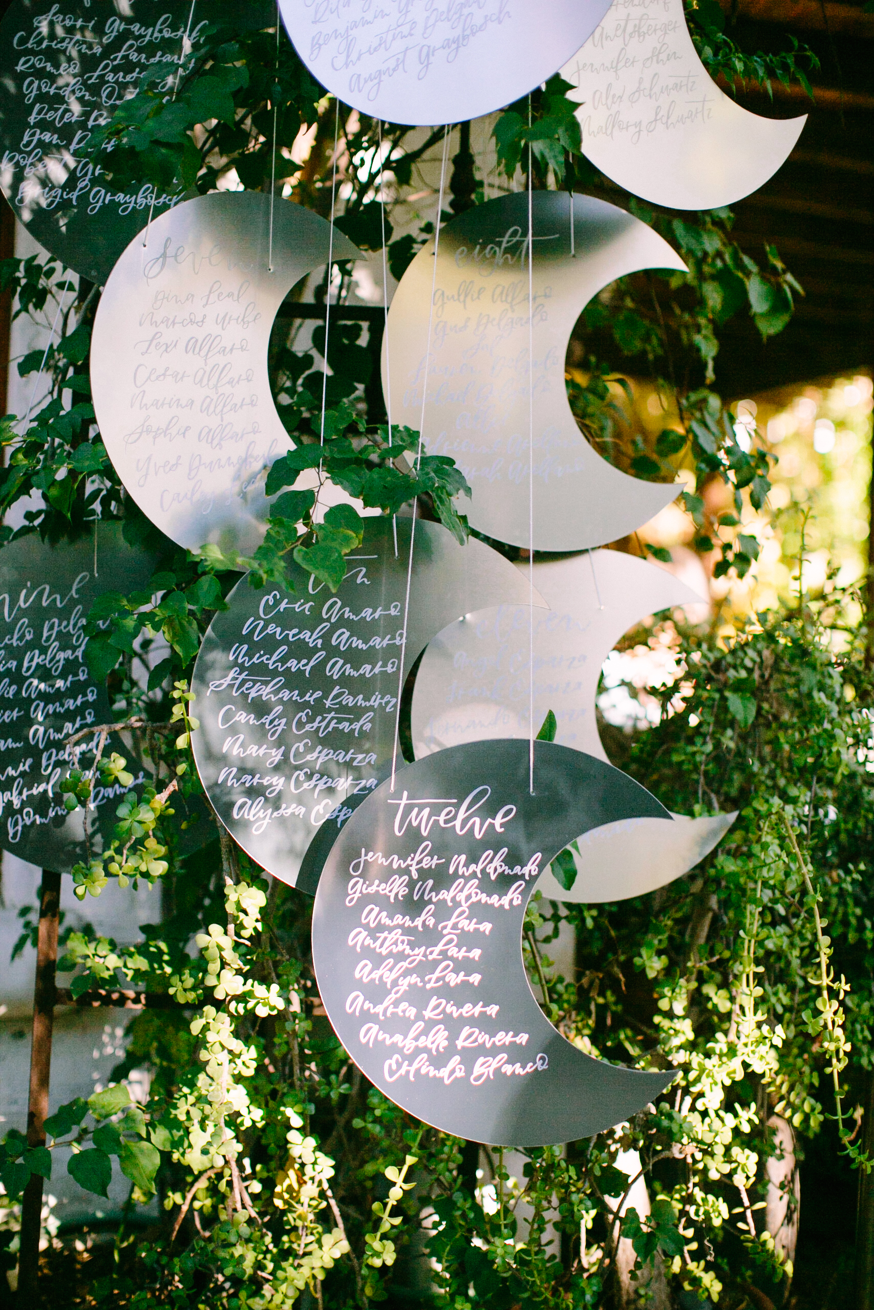 Celestial Wedding Glass Seating Assignments