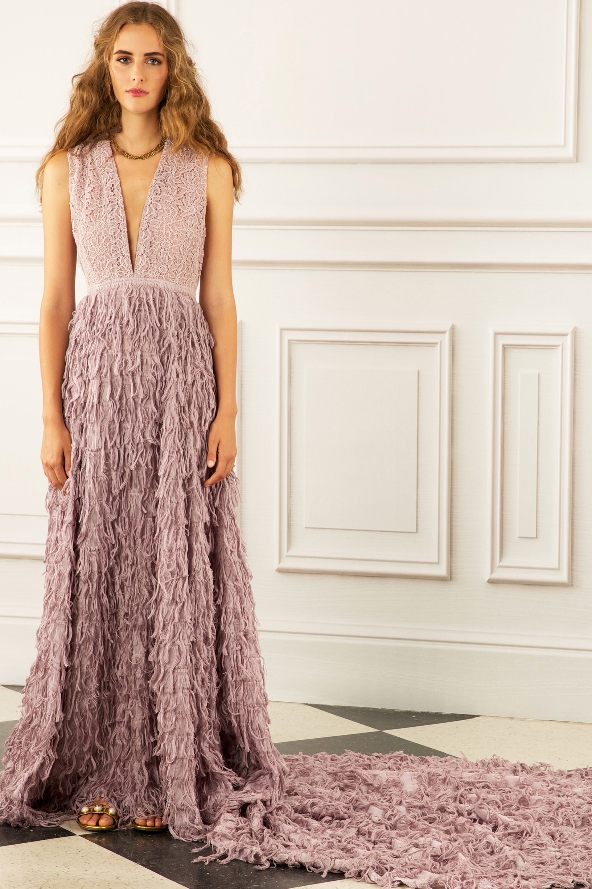 maria korovilas wedding dress spring 2017 v neck rose long