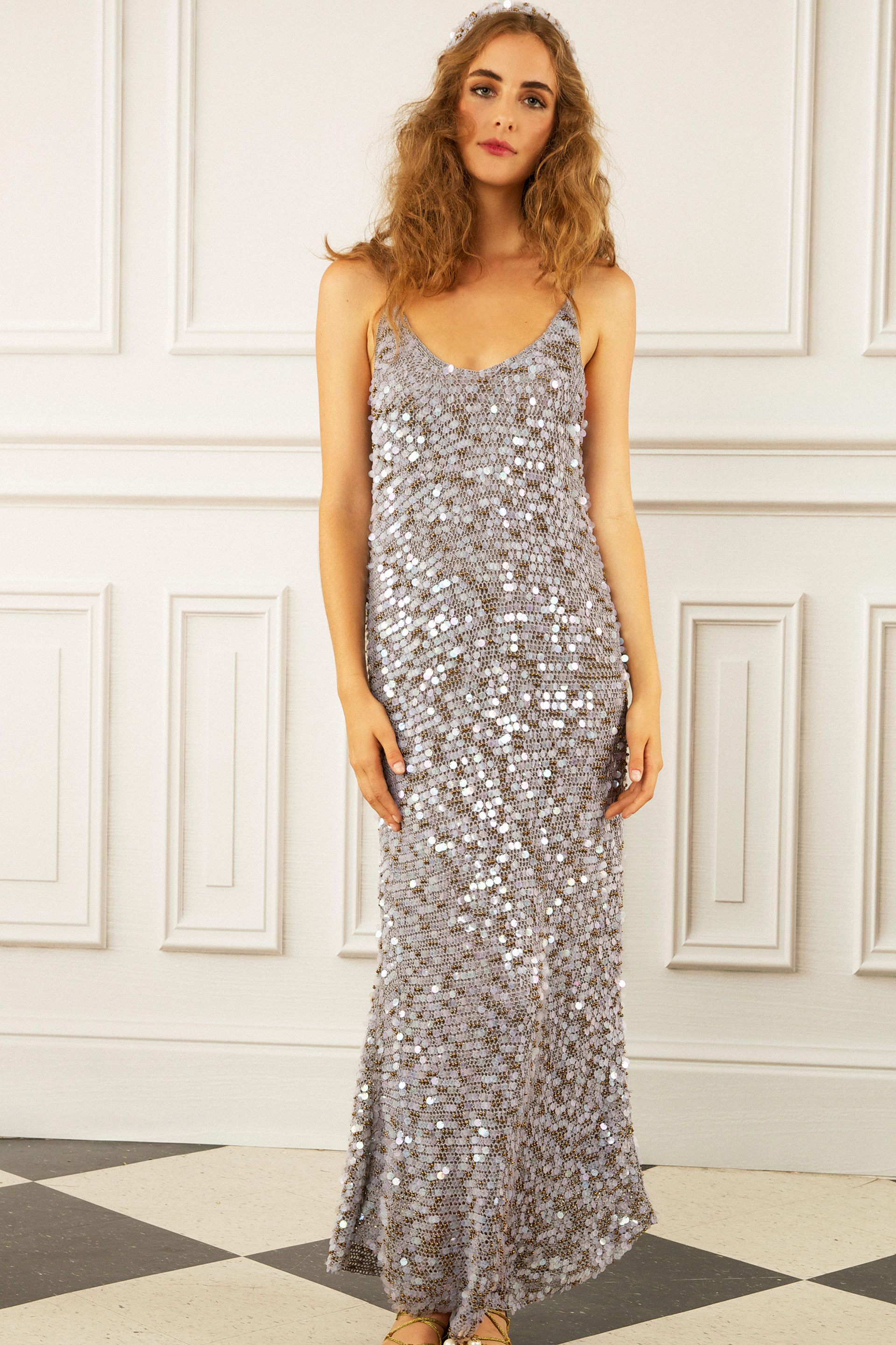 maria korovilas wedding dress spring 2017 silver metallic long