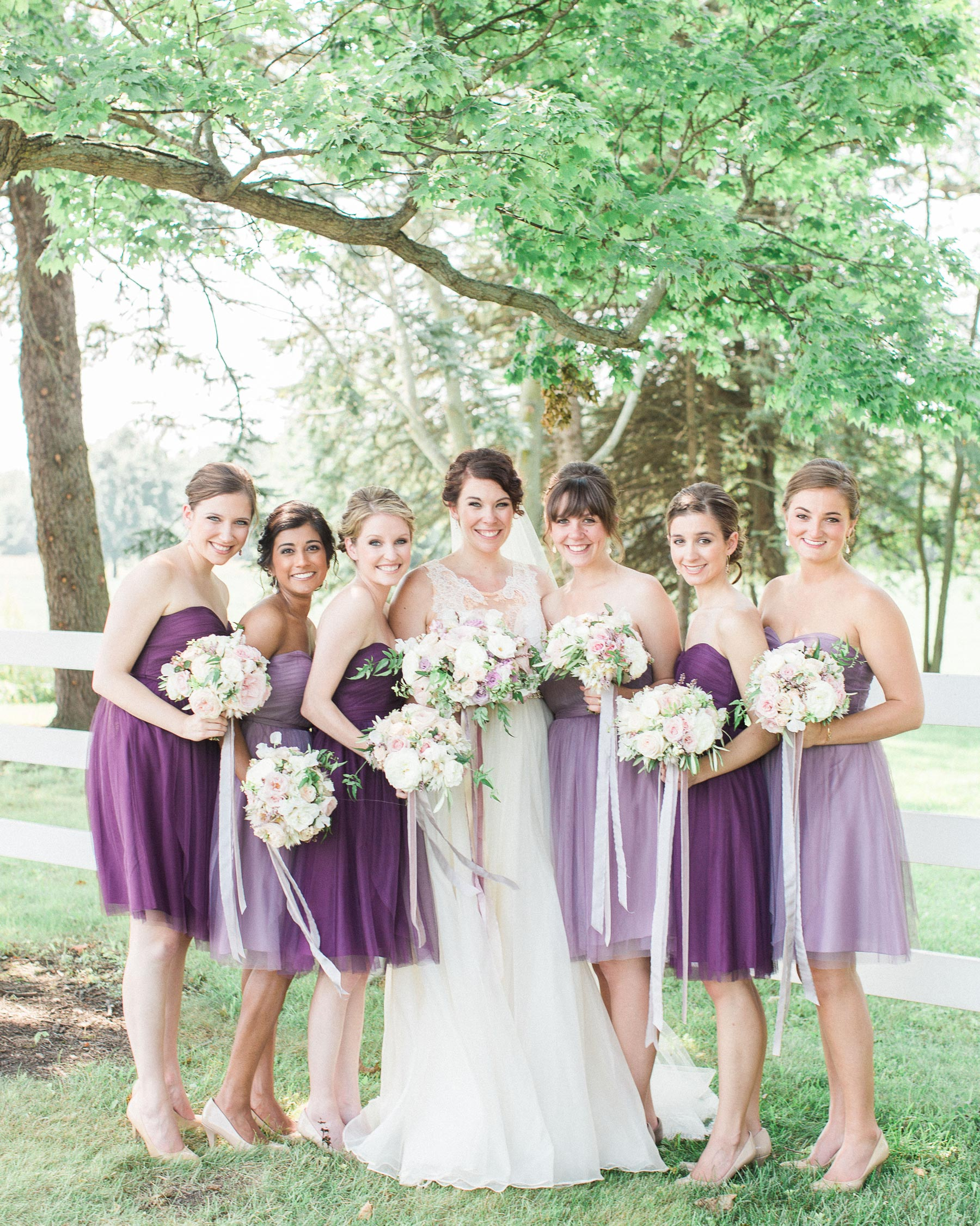 Purple-Clad Bridesmaids