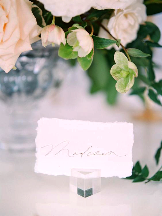 Lucite place card holders
