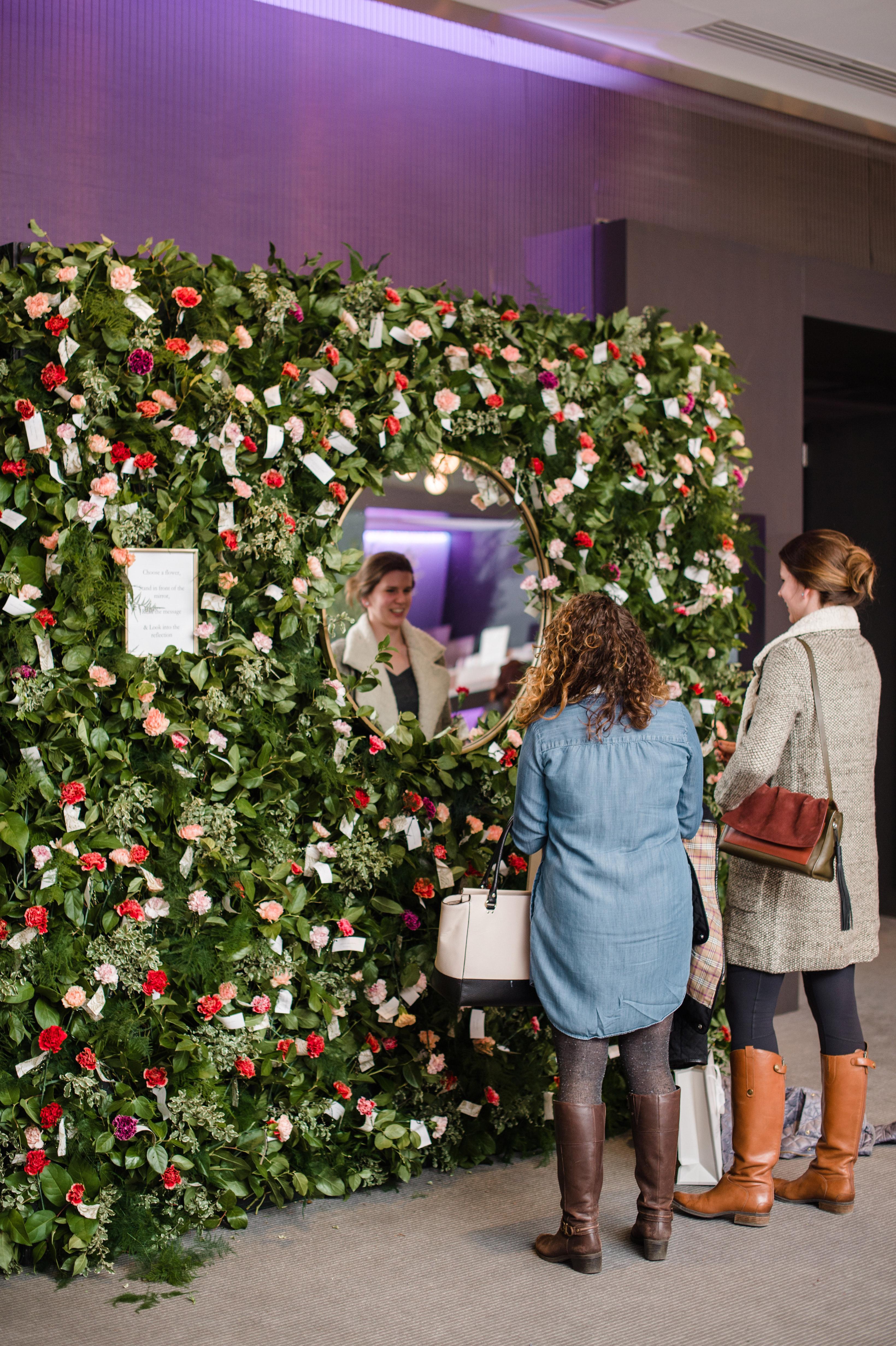 wedding party fleur chicago wishing flower wall