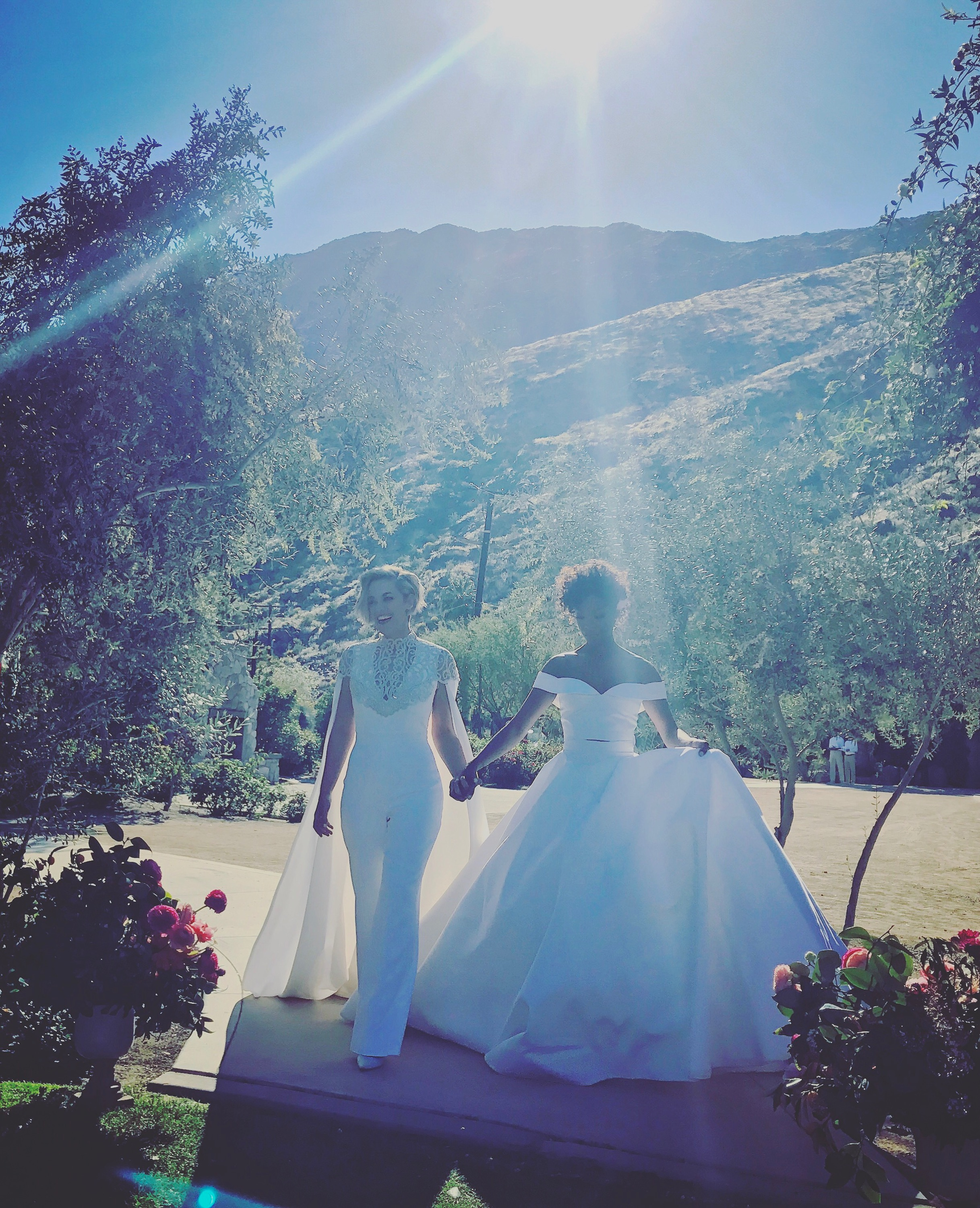 Samira Wiley and Lauren Morelli in Palm Springs for Wedding