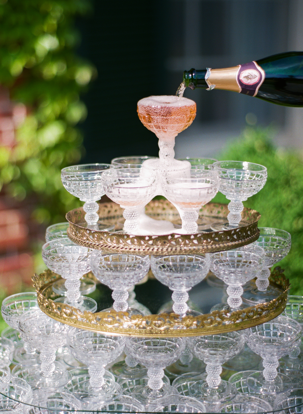 wedding champagne towers crystal glasses on stacked trays