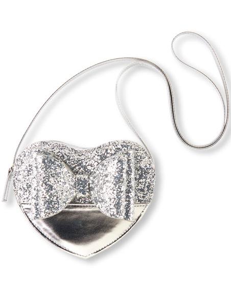 silver heart glitter bag flower girl