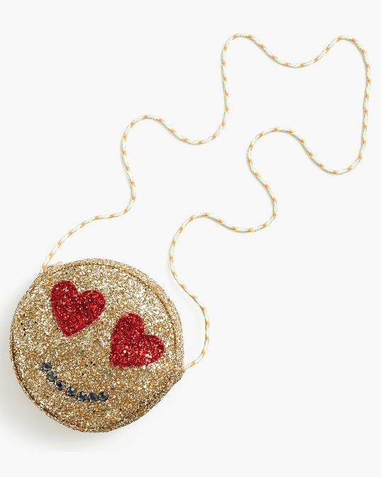 glitter emoji heart bag flower girl