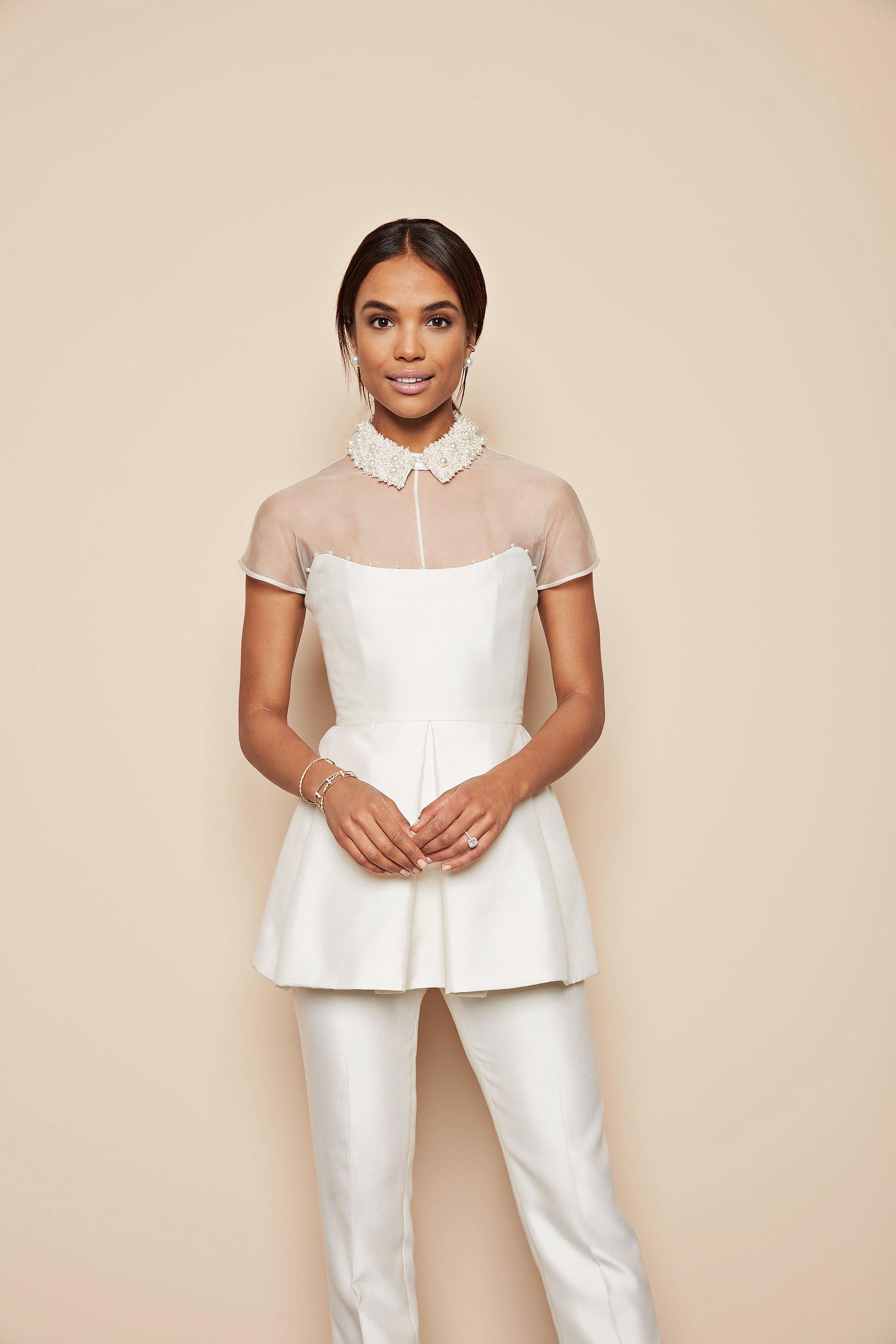 white peplum top pearl beaded collar white pants lela rose