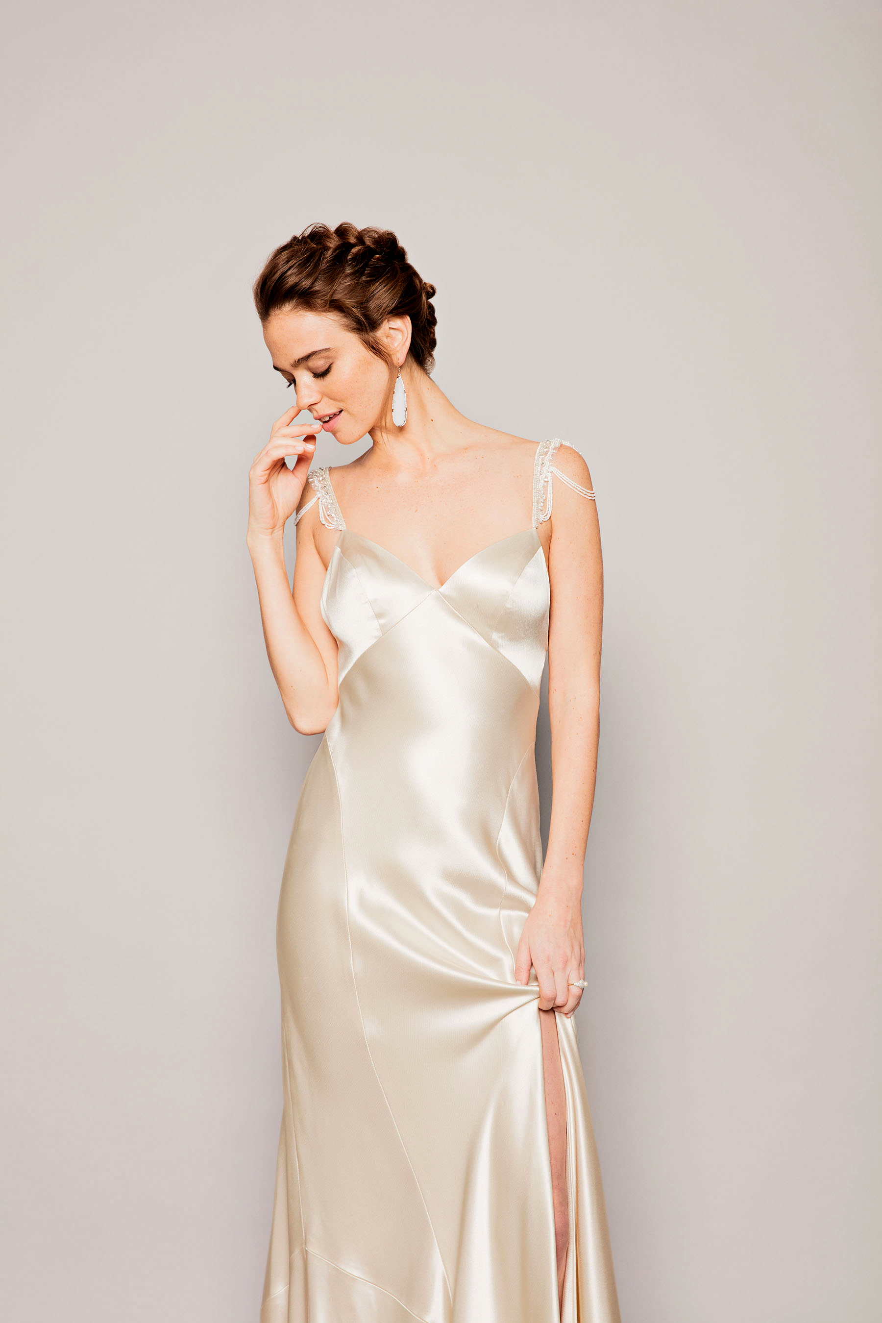 cream silk dress crystal pearl beaded straps watters