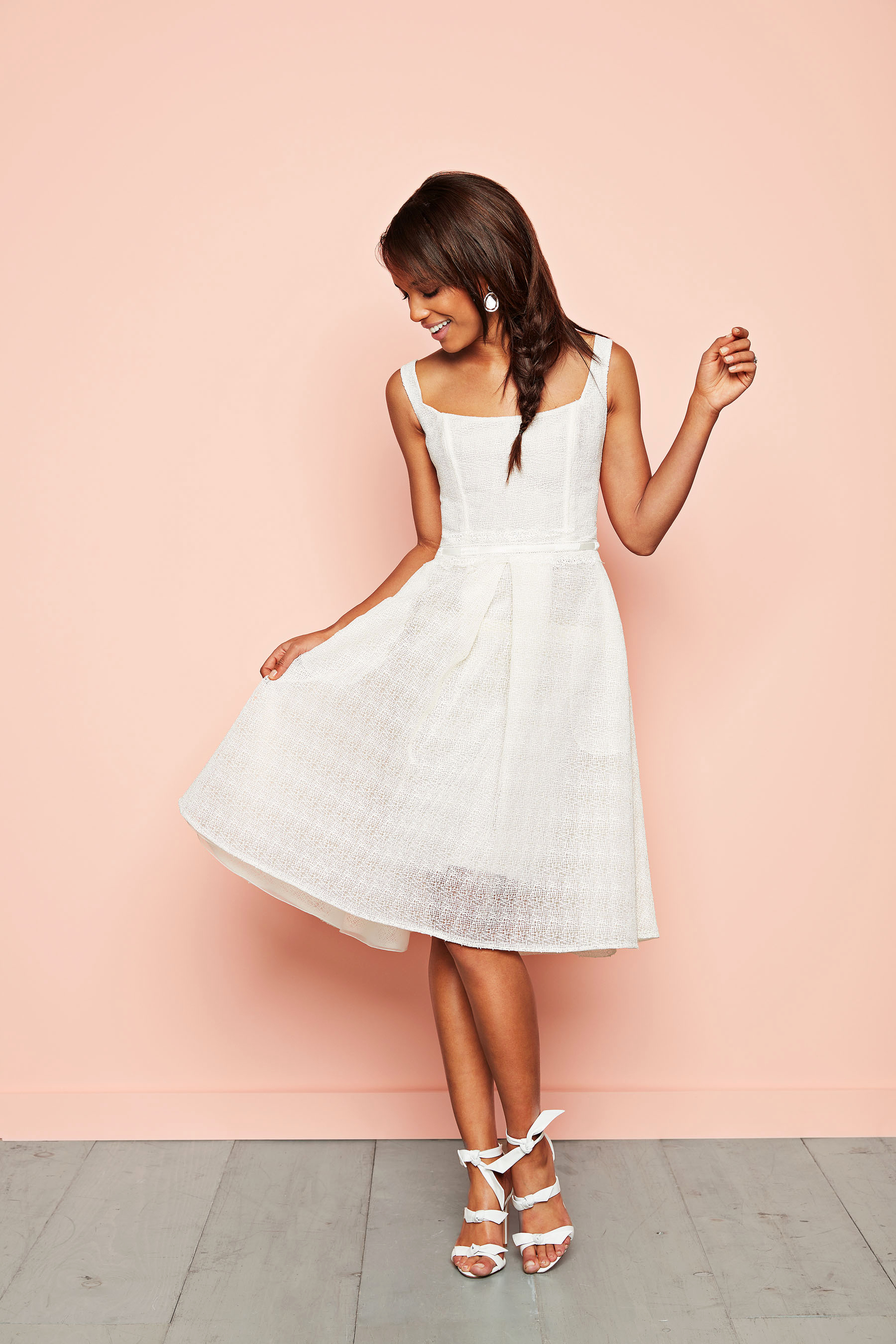 white flare dress knotted sandals cymbeline